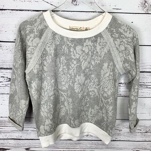 LIBERTY LOVE | gray floral sweatshirt white trim